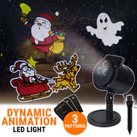 LED Projector Dynamic Light Halloween Christmas 3 Slides Animation Decoration
