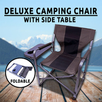 Directors Chair Folding w/ Side Table Aluminium Outdoor Camping Caravan Fishing Portable Travel Bench