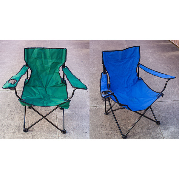 Folding Chair 2 Pcs w/ Cup Holder, Outdoor Camping Seat Rest Lounge Garden Chair
