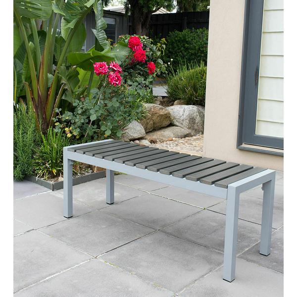 Long Stool Aluminium Frame W Wooden Slat 118x41x45cm