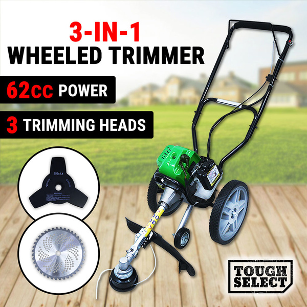 3 In 1 Petrol Brush Cutter Grass Trimmer Mower 62cc Wheeled Hand Push