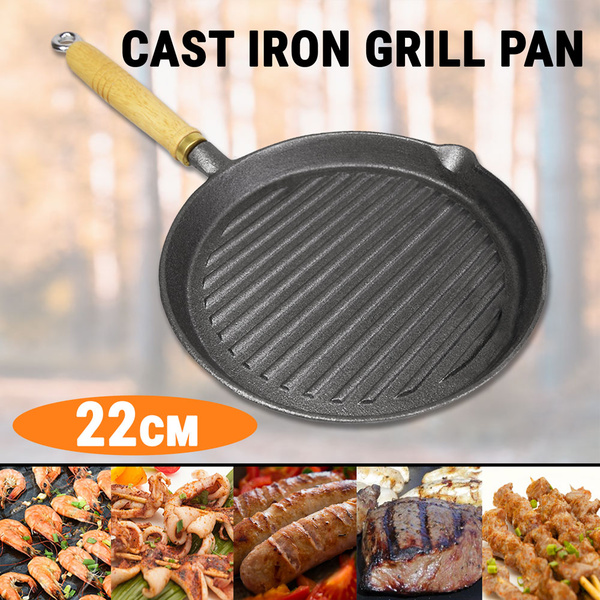 22cm Cast Iron Skillet Pan Frying Grill W/ Handle BBQ Griddle Plate Barbecue