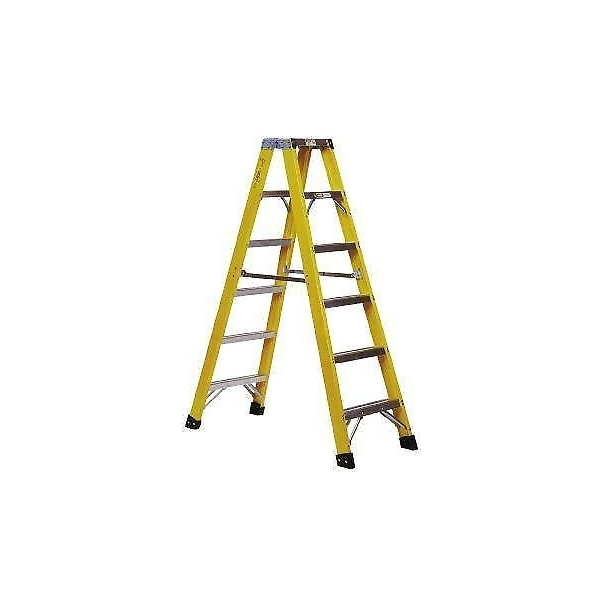 FIBREGLASS DOUBLE SIDED STEP LADDER 2.33m Ladders  FIBRE GLASS