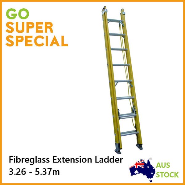 NEW SAFE FIBREGLASS EXTENSION LADDER ( 3.26M-5.37M ) FIBRE GLASS