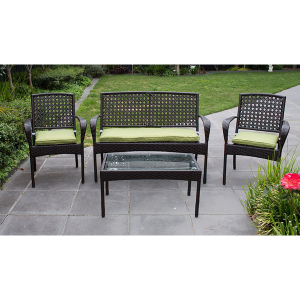 Rattan Setting 4 Pcs w/ Cushion, Wicker Table Chair Lounge Outdoor Furniture