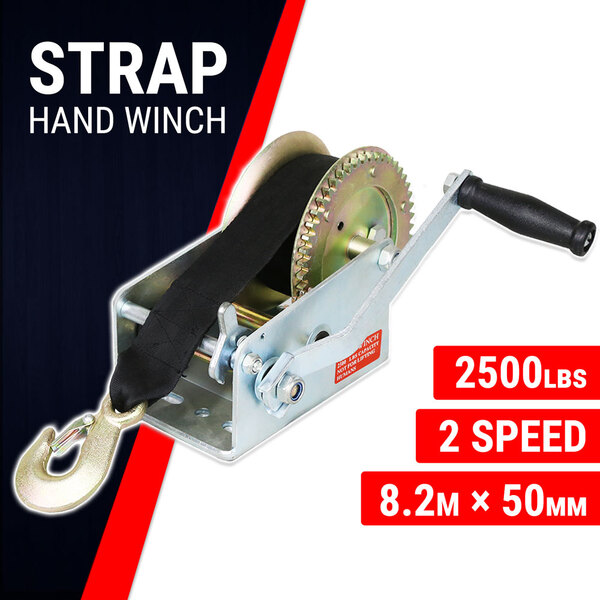 Hand Winch Strap 2500 lbs, Boat Trailer Gear Winch, Weather Resistant
