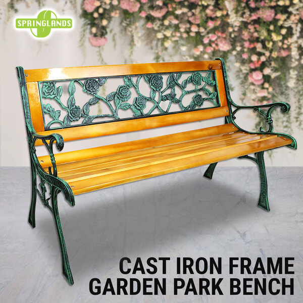 Wooden Bench Cast Iron, Rose Pattern(Plastic) Park Bench Garden Outdoor Lounge