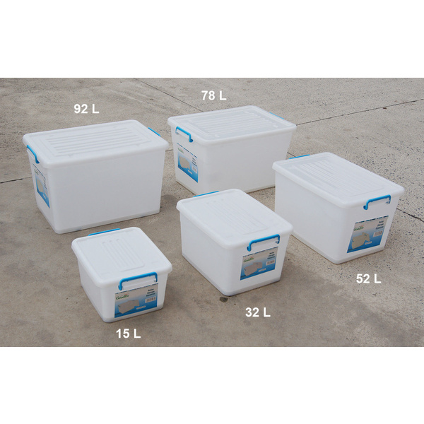 5 x Storage Box with Lid Wheels, Plastic Box Set 15L 32L 52L 78L 92L, White, New