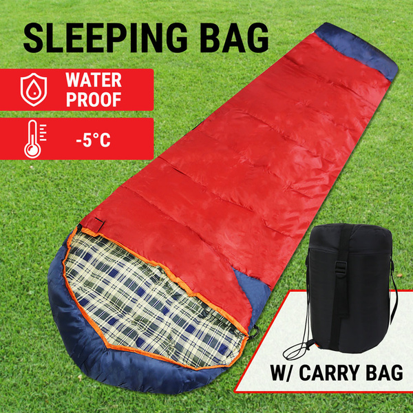Camping Sleeping Bag W/ Carry Bag Tent Hiking Thermal Emergency Survival Outdoor