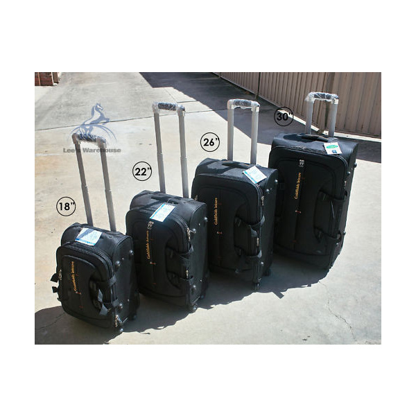 4 x Suitcase, Luggage Set 4 Sizes, Travel Luggage with Zipper Lock, Black Brown