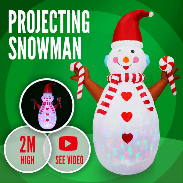 Christmas Projecting Snowman 1.8m Inflatable Xmas Moving Disco Light Decor
