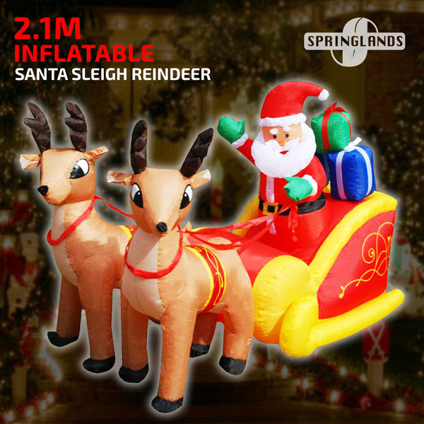 Inflatable Santa Sleigh Reindeer 2.1M Deer Sled Decor Christmas Outdoor Xmas